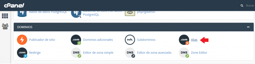 alias de dominio en cPanel