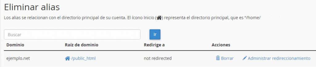 modificar o eliminar alias