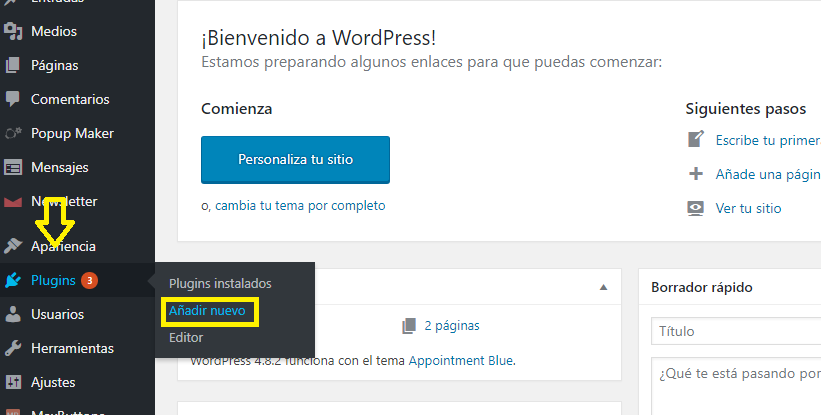 instalar el plugin de wordpress