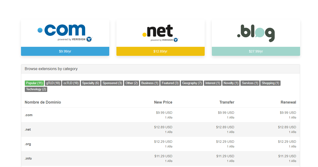 elegir el dominio para la pagina web