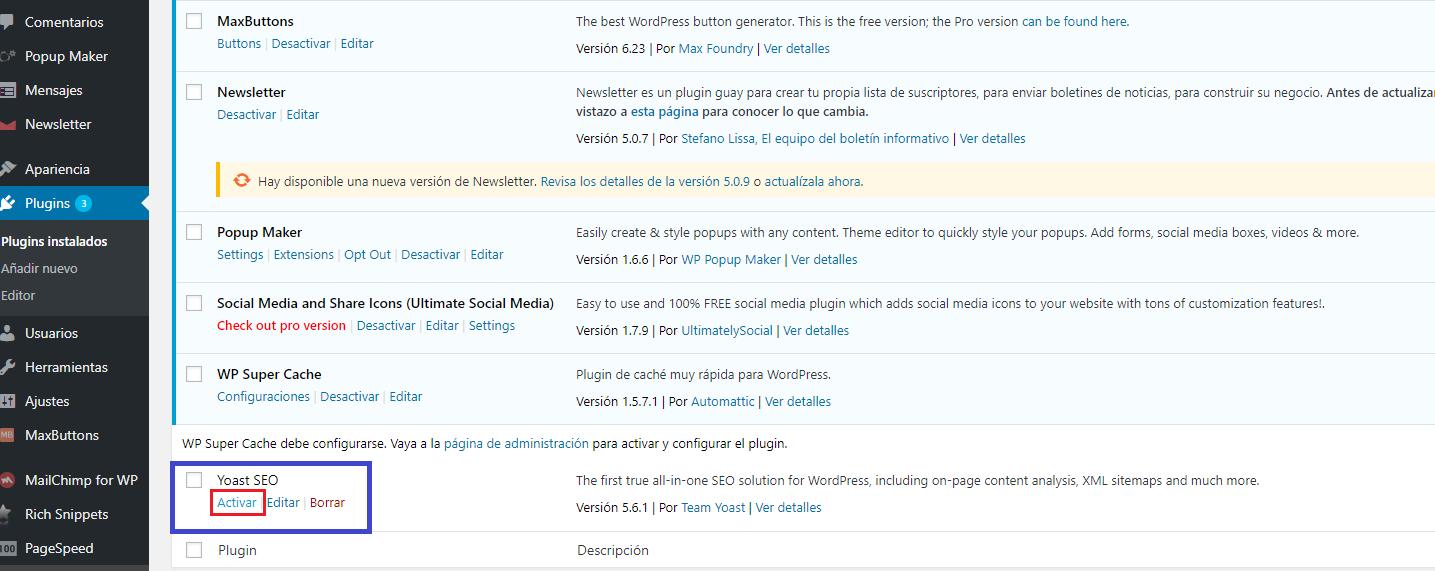 instalacion del plugin wordpress