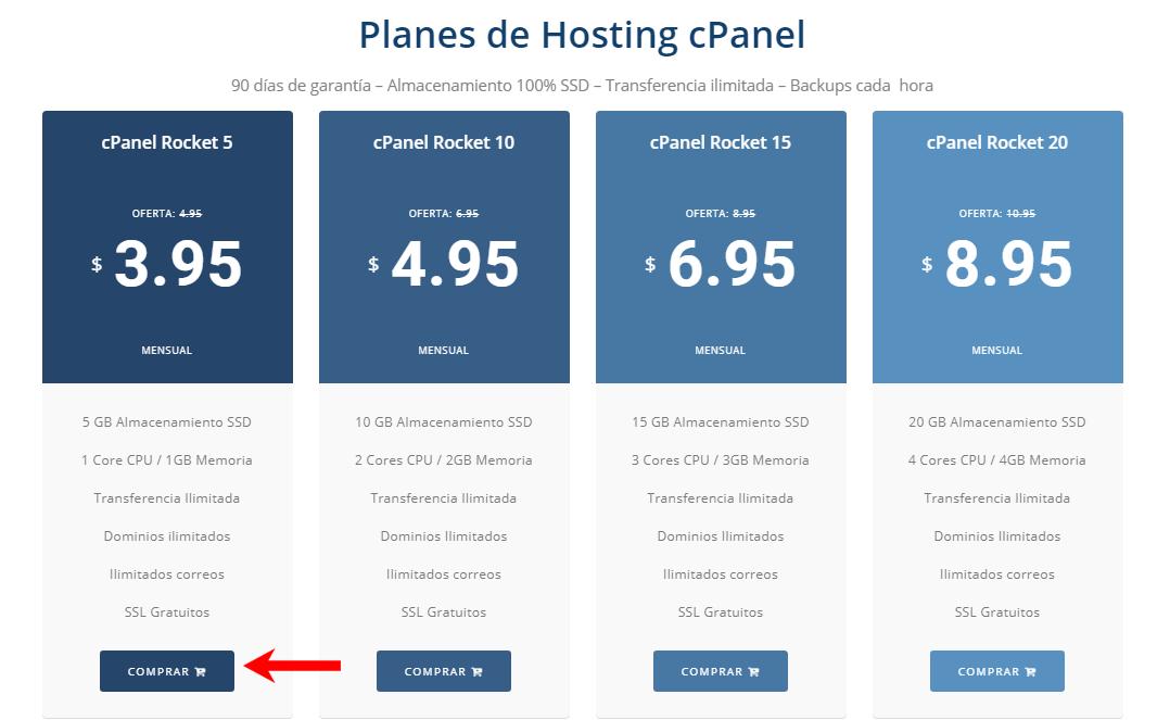 hosting cpanel compartido