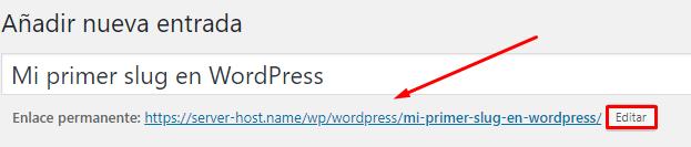 slug en entrada de wordpress
